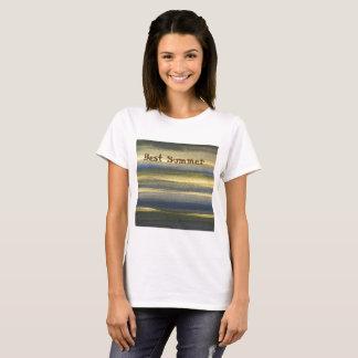 Gold Blue Lines Women's Basic T-Shirt, White T-Shirt