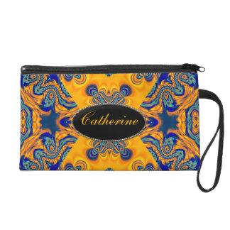 Gold+Blue Neon Batik Wristlet Bags