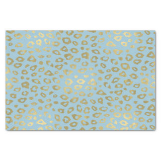 Gold Blue Ombre Leopard Print Tissue Paper