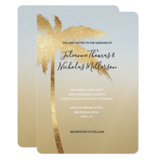 Gold Blue Palm Tree Ombre Wedding Card