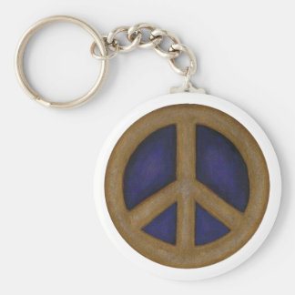 gold blue peace sign basic round button keychain