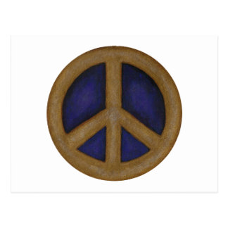 gold blue peace sign postcard