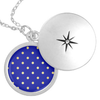 gold blue polka dots silver plated necklace