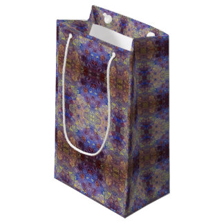 gold blue red paint swirls gift bag