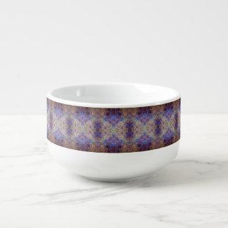 gold blue red paint swirls soup mug