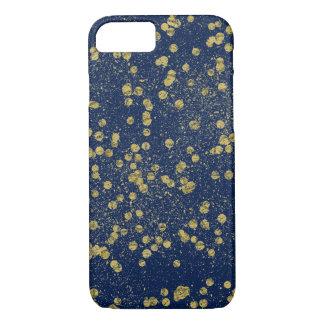 Gold Blue Sparkle Confetti Glittery Dots iPhone 7 Case