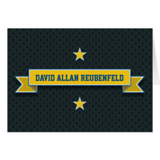 Gold Blue Sport Tackle Twill Bar Mitzvah Thank You Card