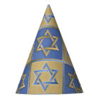 Gold Blue Star of David Art Panels Party Hat