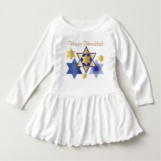 Gold & Blue Stars of David Happy Hanukkah Dress