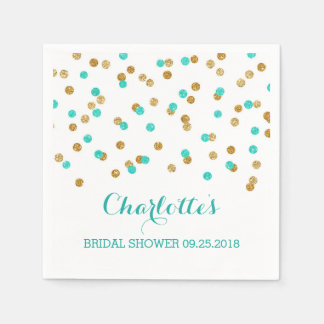 Gold Blue Turquoise Aqua Confetti Bridal Shower Napkin