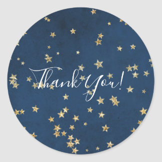 Gold & Blue Twinkle Stars Celestial Skies Favor Classic Round Sticker