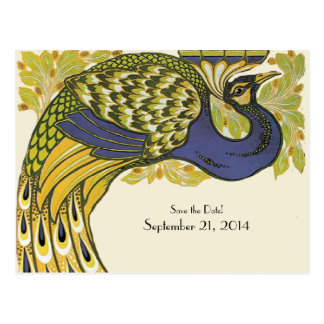 Gold Blue Vintage Peacock Save the Date Postcard