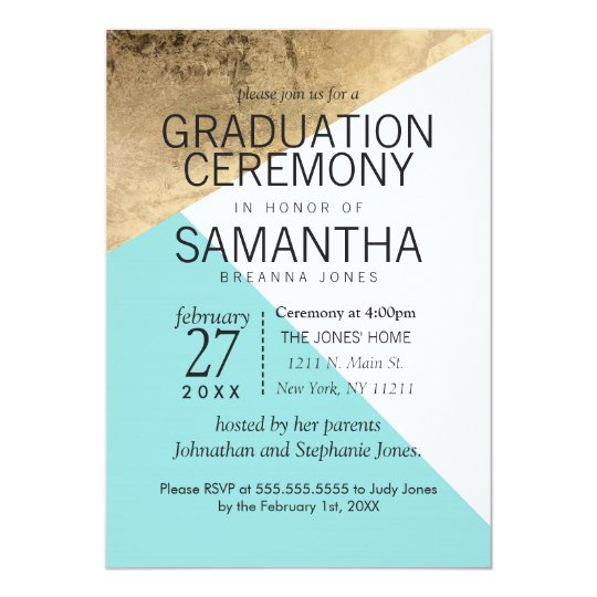 Gold Blue White Geo Triangles Graduation Ceremony Card
