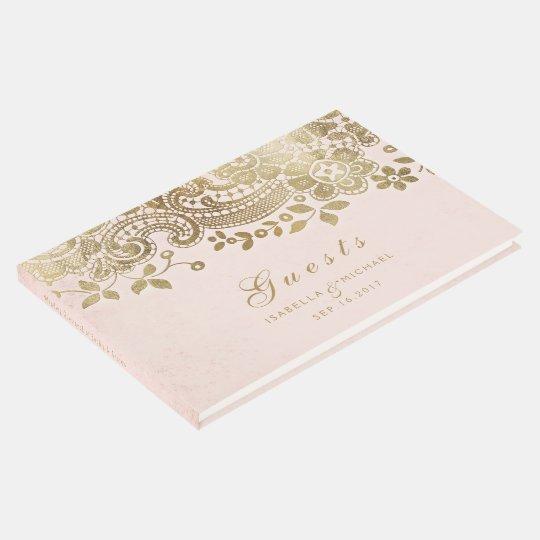 Gold blush elegant lace wedding guest book