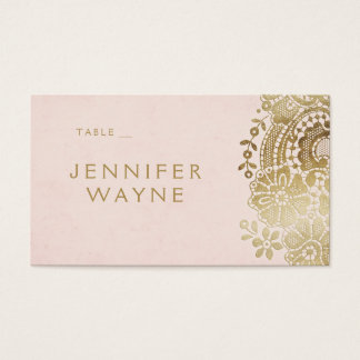 Gold blush elegant lace wedding place cards