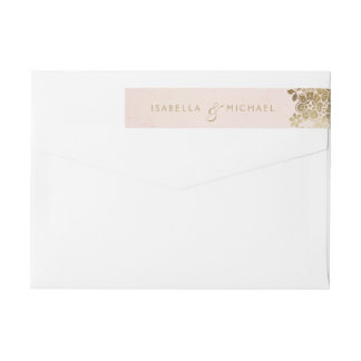 Gold blush elegant lace wedding return address wrap around label