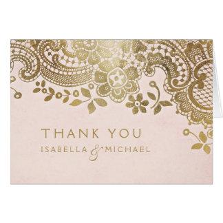Gold blush elegant vintage lace wedding thank you card