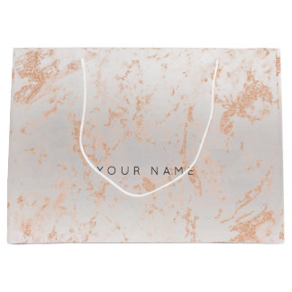Gold Blush Marble Metallic Gift Gray Silver Peach Large Gift Bag