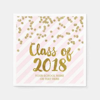 Gold Blush Pink Confetti Class of 2018 Graduation Disposable Napkin