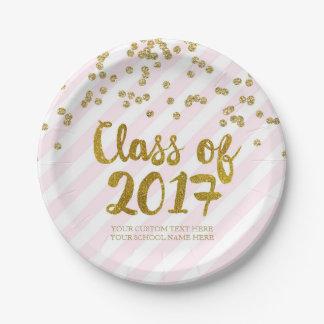 Gold Blush Pink Confetti Graduation 2017 Paper Plate
