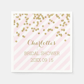 Gold Blush Pink Confetti Stripes Bridal Shower Napkin