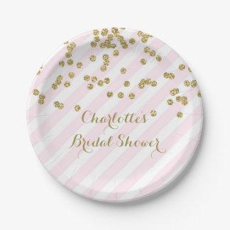 Gold Blush Pink Confetti Stripes Bridal Shower Paper Plate