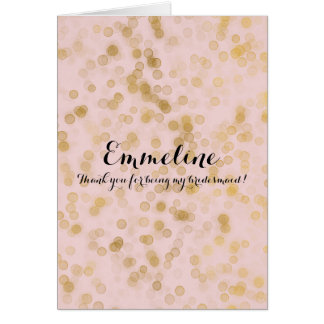 Gold Blush Pink Confetti Thank you bridesmaid Card