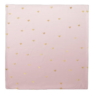 Gold Blush Pink Ombre Hearts Duvet Cover