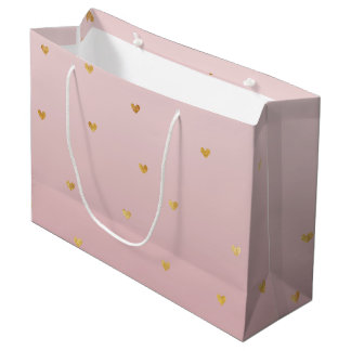 Gold Blush Pink Ombre Hearts Large Gift Bag
