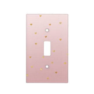Gold Blush Pink Ombre Hearts Light Switch Cover