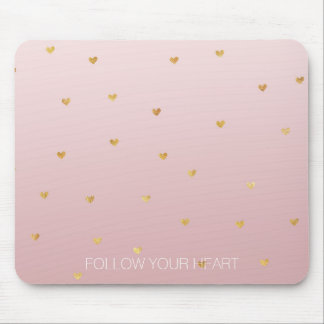 Gold Blush Pink Ombre Hearts Mouse Pad