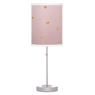 Gold Blush Pink Ombre Hearts Table Lamp