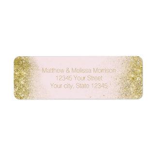 Gold Blush Pink Sparkle Faux Glitter Personalized Return Address Label