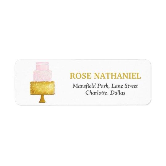 Gold Blush Pink Wedding Cake Bridal Shower