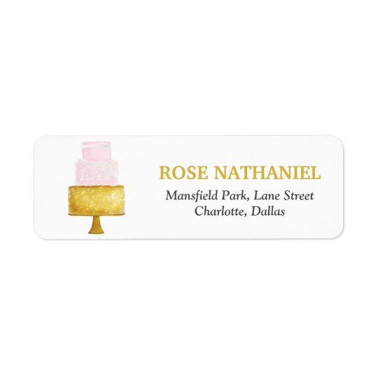 Gold Blush Pink Wedding Cake Bridal Shower Return Address Label