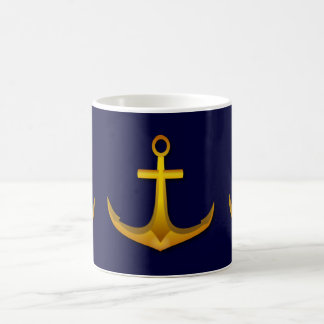 Gold Boat Anchor on Navy Blue Nautical Sea Theme Coffee Mug