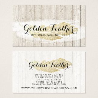Gold Bohemian Feather on Rustic Wood Boards Business Card