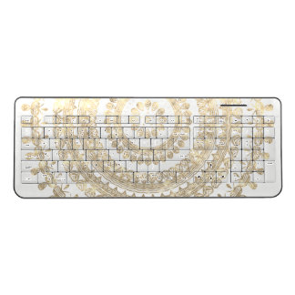 Gold Boho Tribal Circle Mandala Metallic Effect Wireless Keyboard