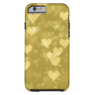 Gold bokeh hearts pattern electronics tough iPhone 6 case