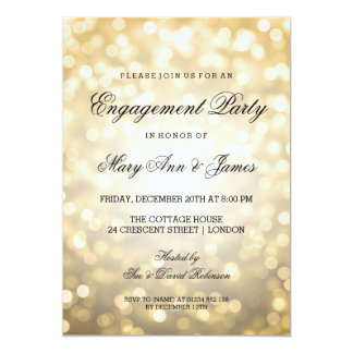 "Gold Bokeh Lights Elegant Engagement Party 5"" X 7"" Invitation Card"