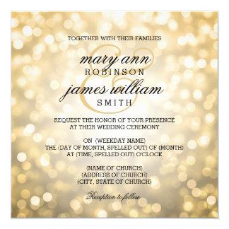 Gold Bokeh Lights Elegant Wedding 5.25x5.25 Square Paper Invitation Card