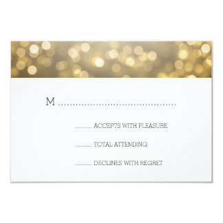 Gold Bokeh Lights Elegant Wedding RSVP Card