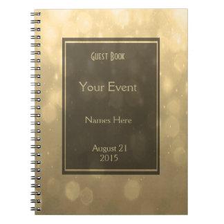 Gold Bokeh Lights Guest Book Note Book