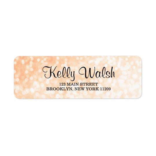 Gold Bokeh Lights Sweet 16 Return Address Labels