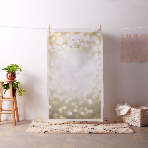Gold Bokeh Lights Wedding Photo Backdrop Fabric