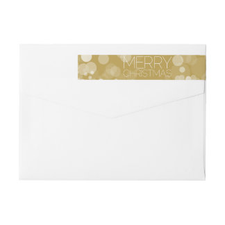 Gold Bokeh Modern Merry Christmas Wrap Around Label