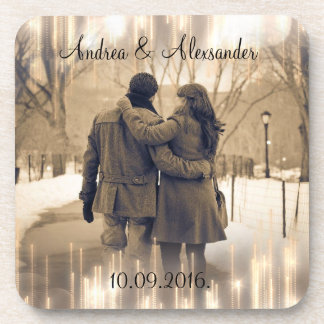 gold bokeh save the date drink coasters