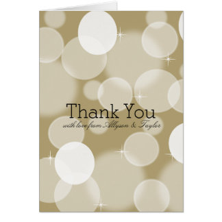 Gold Bokeh Thank You Card