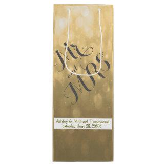 Gold Bokeh   Wedding Wine Bag
