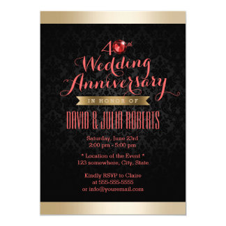 Gold Border Black Damask Ruby Wedding Anniversary Card